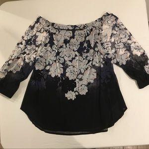 INC Black white pink floral sheer 3/4 sleeve Lrg